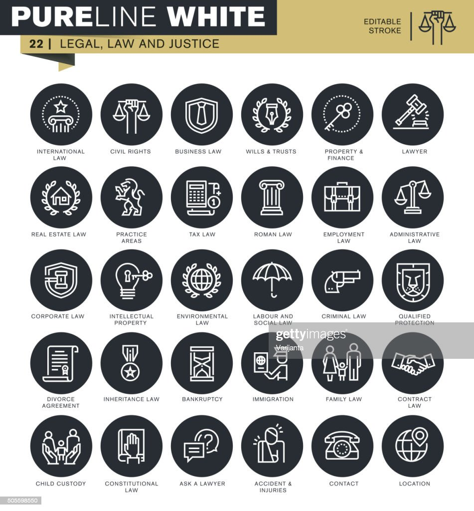 Set of thin line icons for lawyers