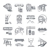 set of thin line icons freight and passenger rail transport