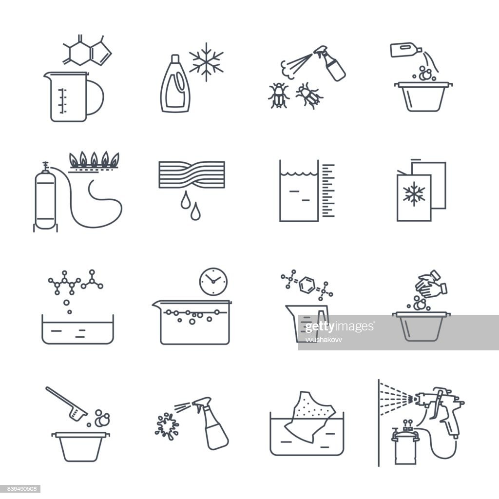 set of thin line icons household chemicals, cleaner, detergent