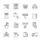 set of thin line icons laundry service production process