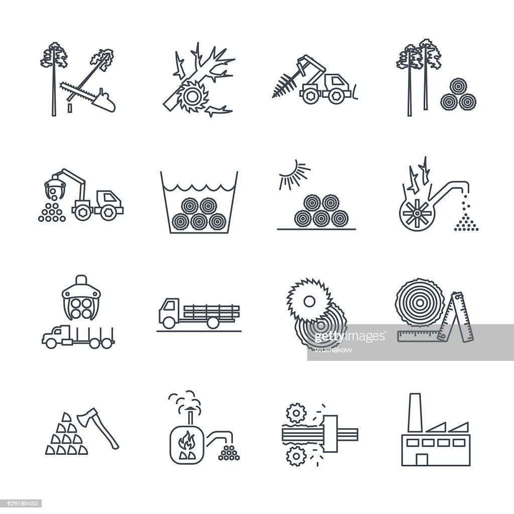 set of thin line icons logging production process
