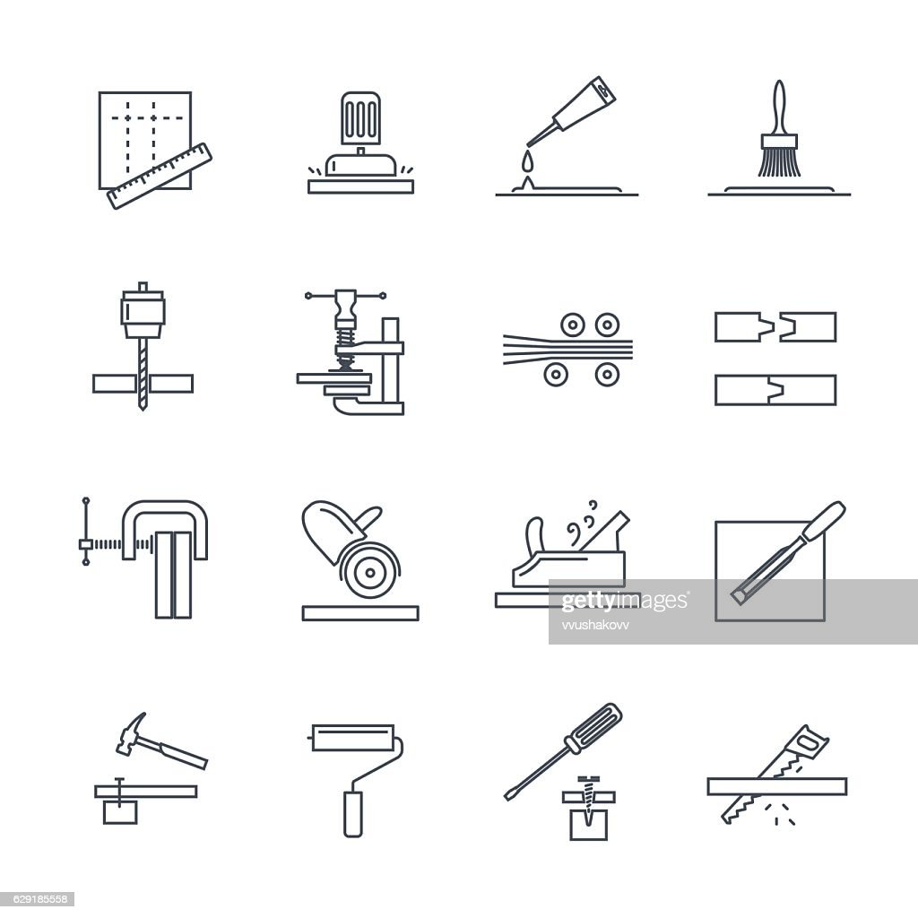 set of thin line icons manufacture of products of wood