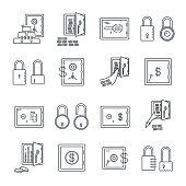 set of thin line icons safe, lock, money