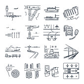 set of thin line icons transport infrastructure, road, air, sea