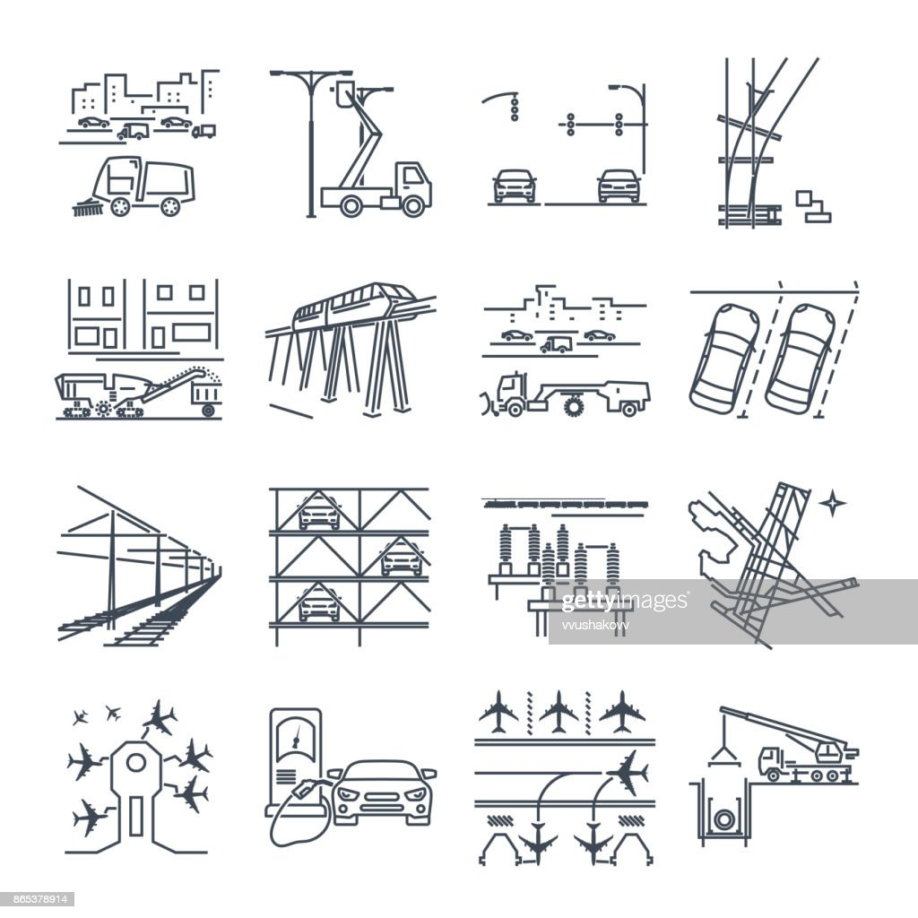 set of thin line icons transport infrastructure, road, air