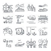 set of thin line icons travel, tourism, transport, air, train