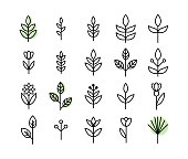 Set of thin line leaf icons vector