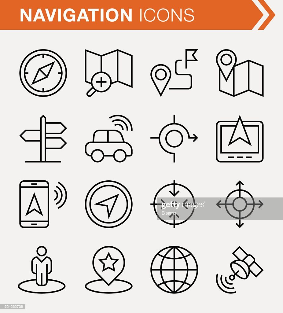 Set of thin line navigation and location icons.