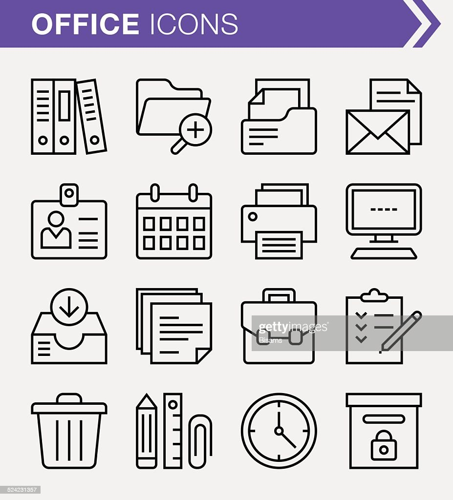 Set of thin line office icons.