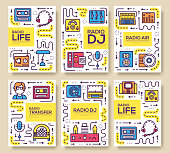 Set of thin line radio life day concept. Art old school TV equipment , magazine, book, poster, abstract, banner, element. Vector workspace in office outline package greeting card or invitation brochure
