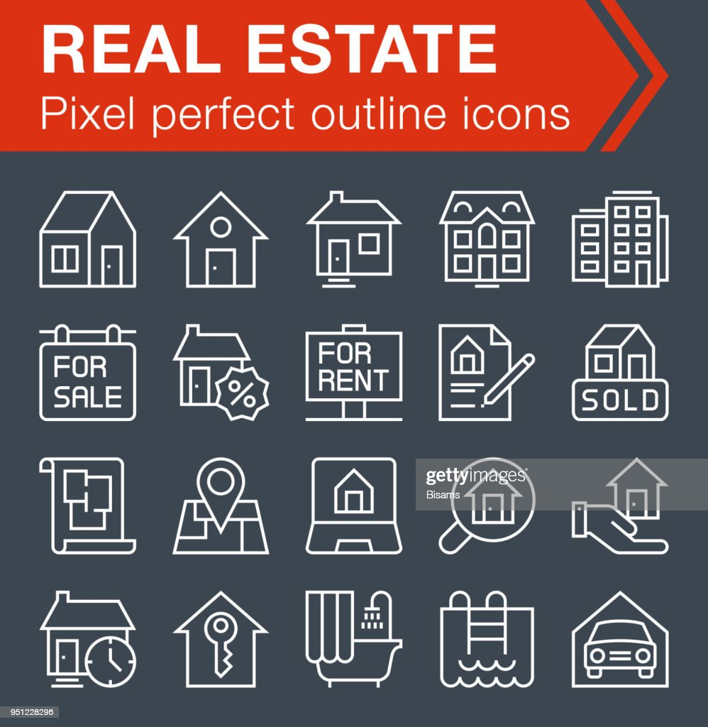 Set of thin line real estate icons for mobile apps and web design.
