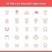 Set of Thin Line Stroke Awards and Trophy Icons
