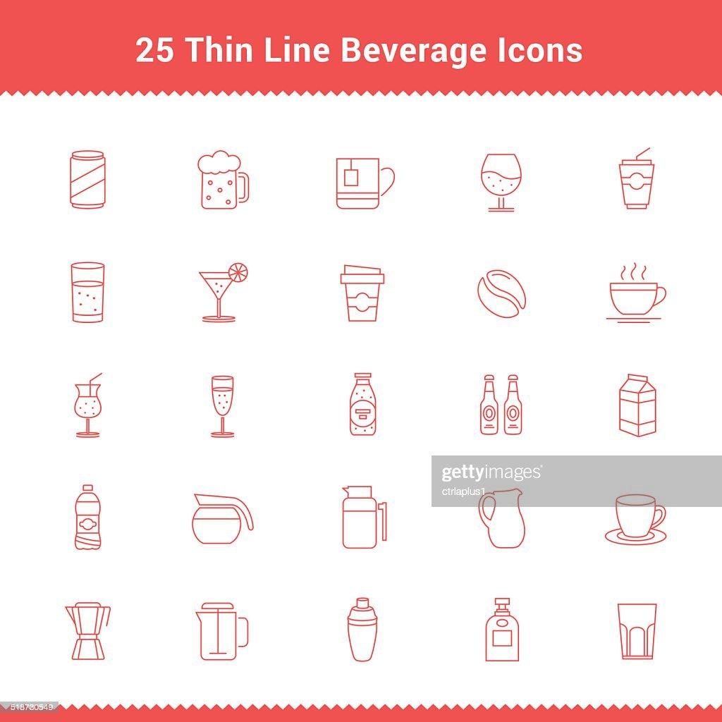 Set of Thin Line Stroke Beverage Icon