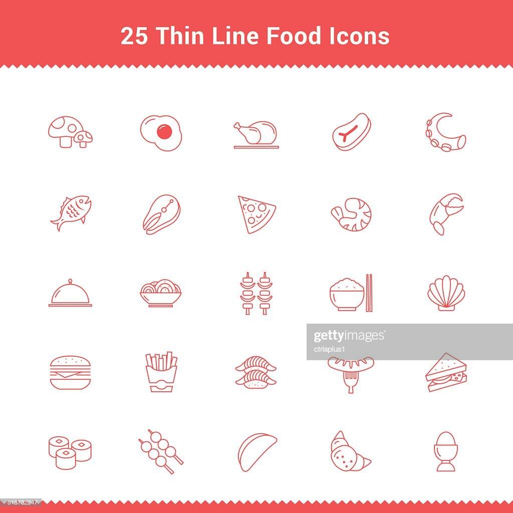 Set of Thin Line Stroke Food Icon