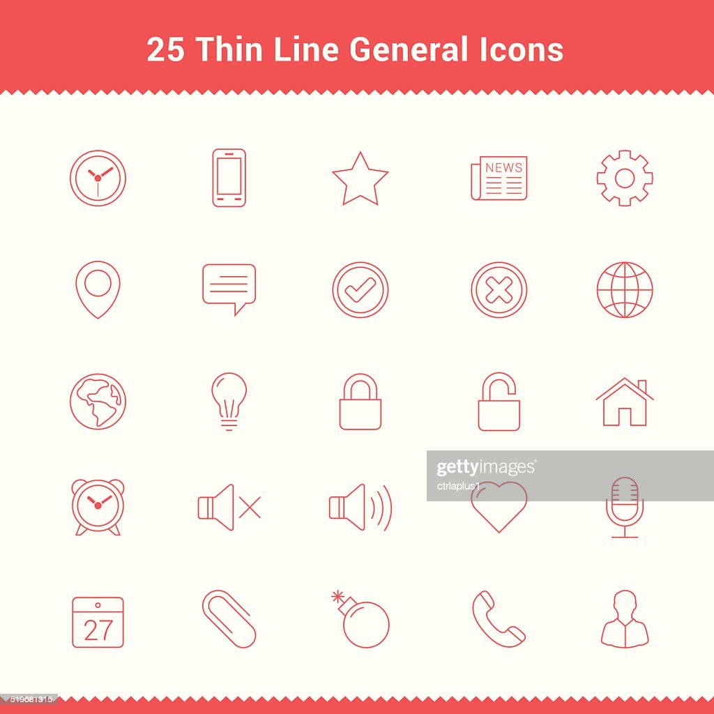 Set of Thin Line Stroke General Icons