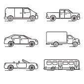 Set of thin line transportation icons