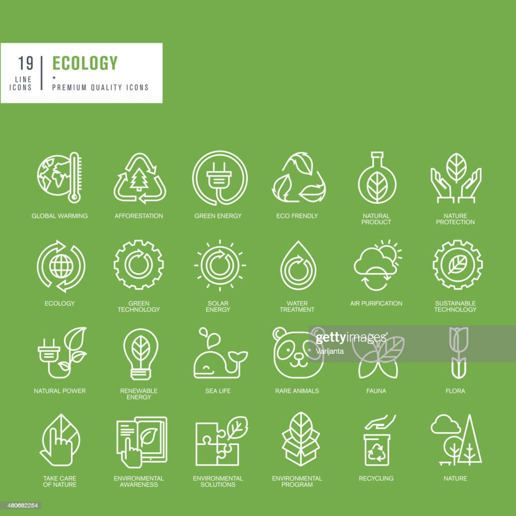 Set of thin line web icons for ecology
