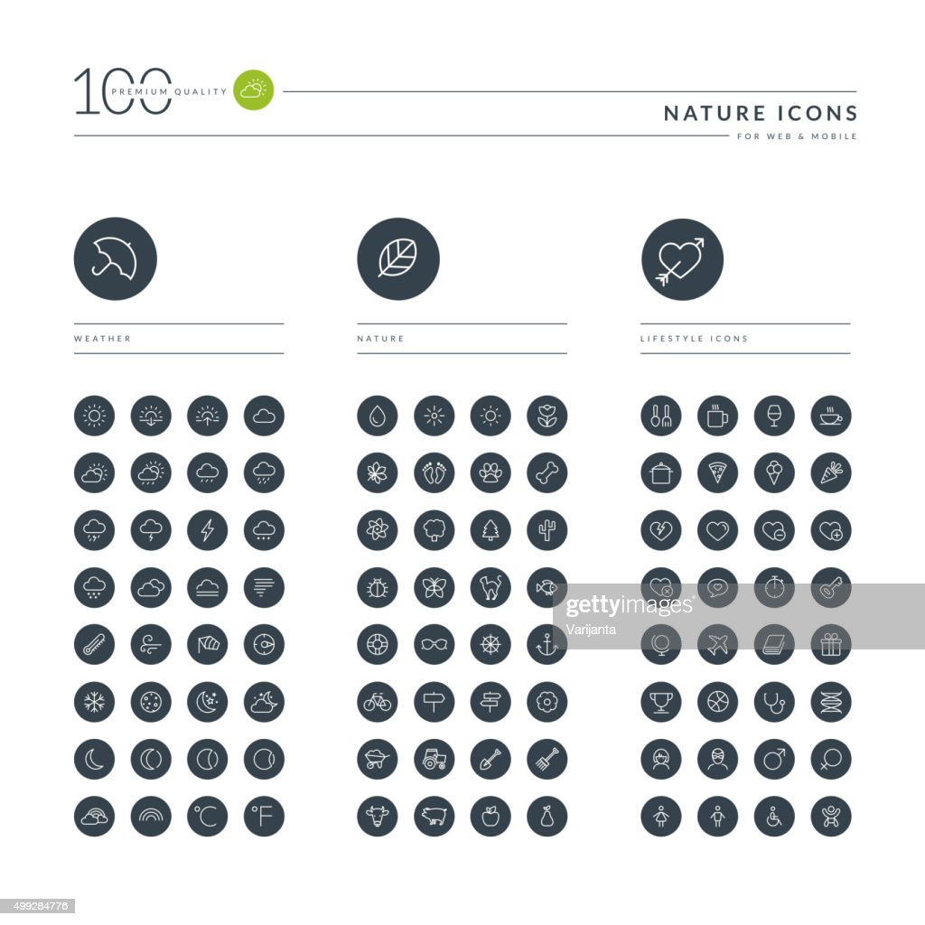 Set of thin line web icons for nature