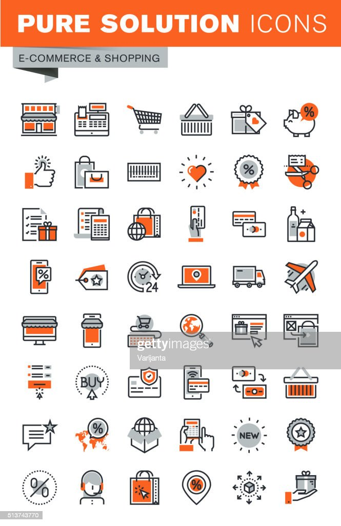 Set of thin line web icons for shopping