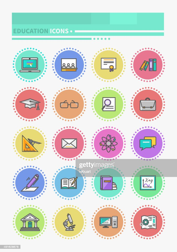 Set of Thin Lines Icons Education