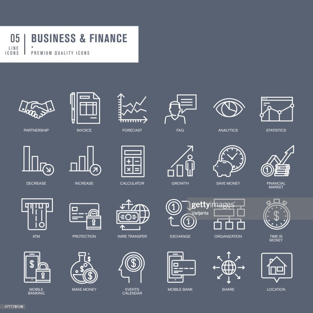 Set of thin lines web icons for business and finance
