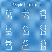 Set of thin people icons