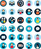 Set of thirty flat call center icons.