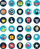 Set of thirty flat shopping icons.