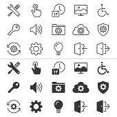 Set of thirty setting icons in white and black