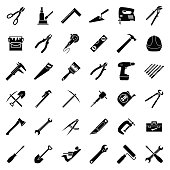 Set of thirty six flat style black and white tools