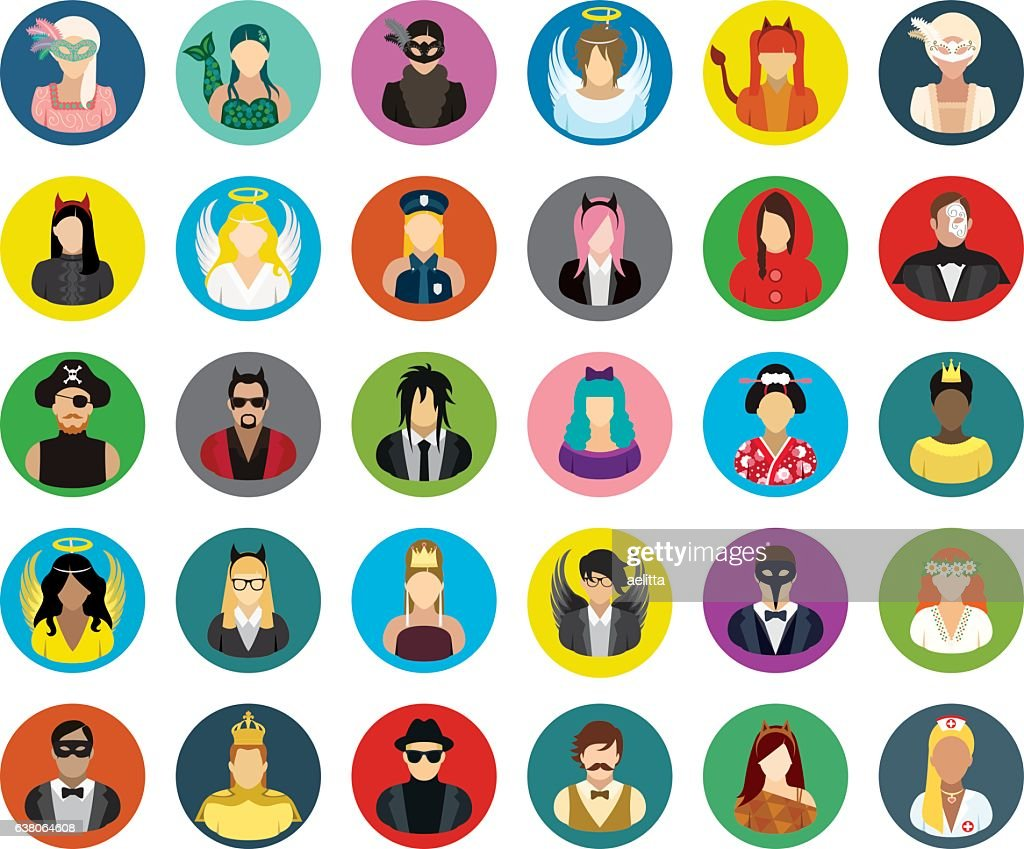 Set of thirty vector round icons of masked people.