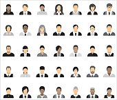 Set of thirty-five icons of business people.