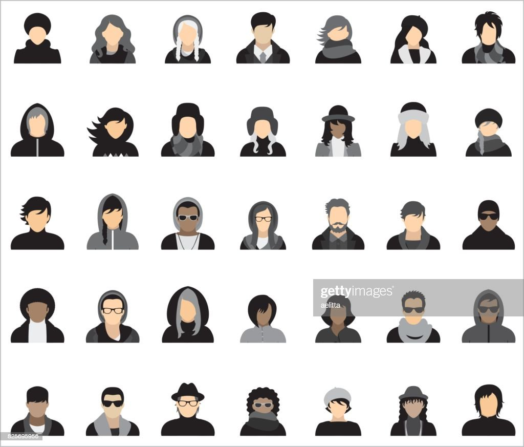 Set of thirty-five icons of people dressed in various styles of autumn/winter fashion.