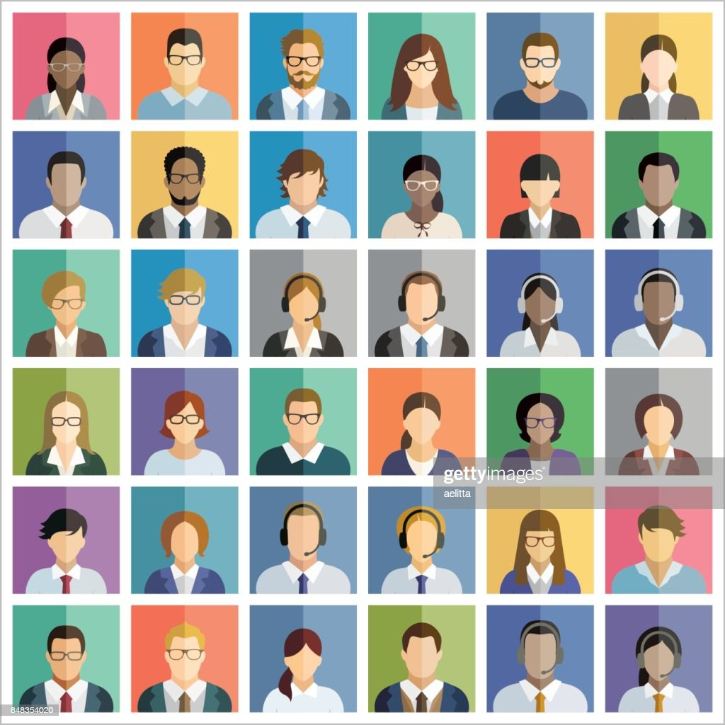 Set of thirty-six flat square icons of business people.