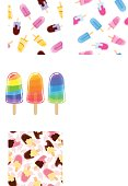 Set of three artoon cool popsicle. Sweet ice cream isolated on the white background.