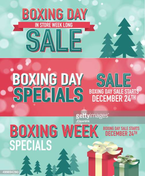 set of three boxing day sale advertisement banner designs - boxing day stock illustrations