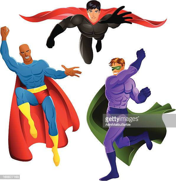 Set of Three Cartoon Superheroes in Costume and Poses