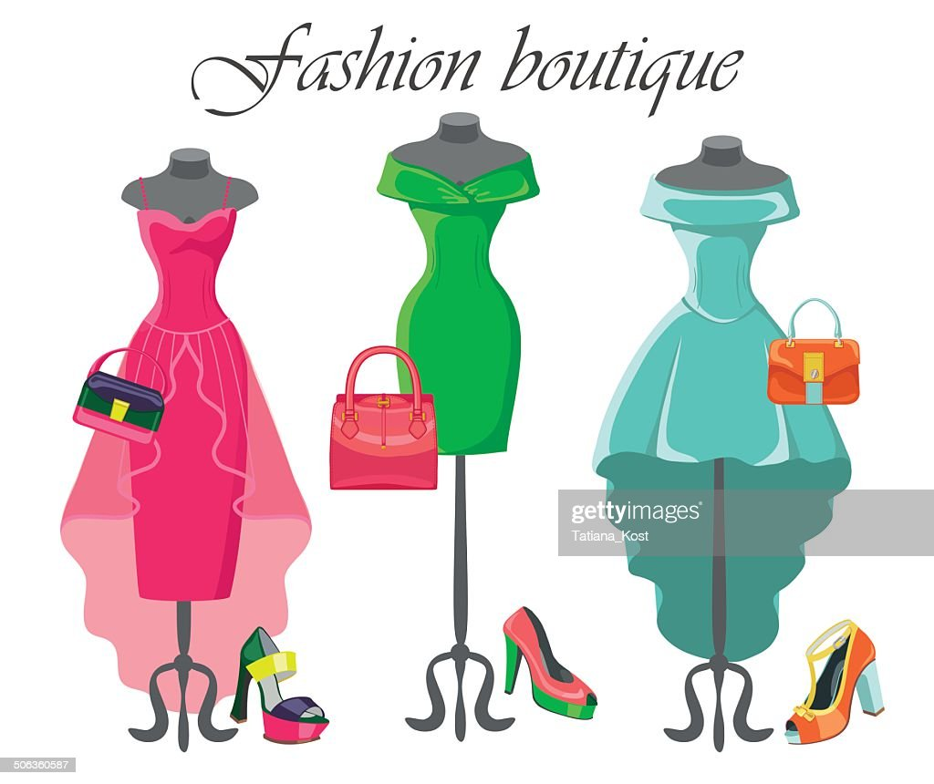 Set of  three coctail dresses with accessories.Fashion illustrat