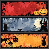 Set of three colorful Halloween-themed horizontal banners