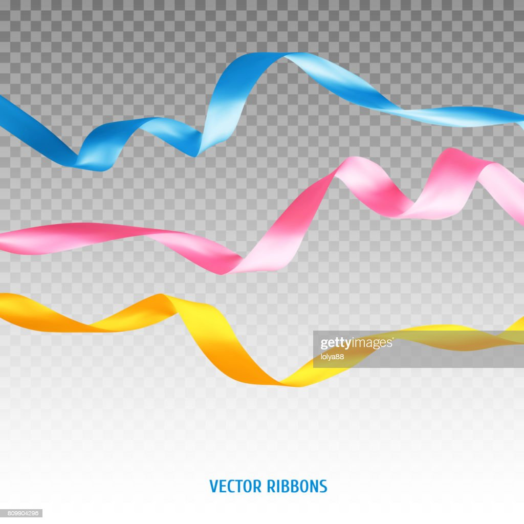 Set of three colorful ribbons