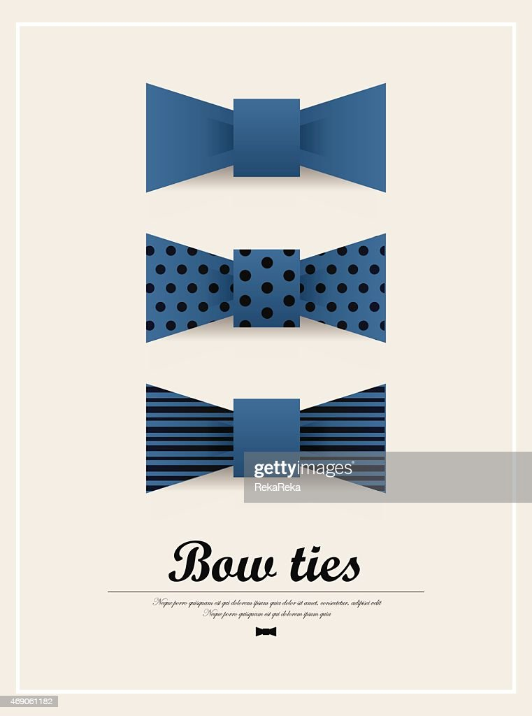 Set of three different design of blue bow ties.