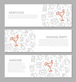 Set of three digital night club and cocktail bar horizontal banners with icon pattern. Vector illustration