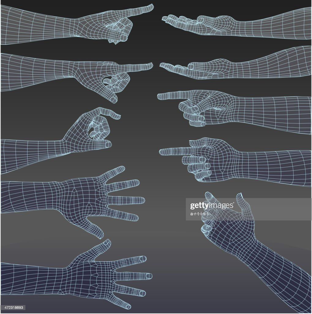 Set of three dimensional hands