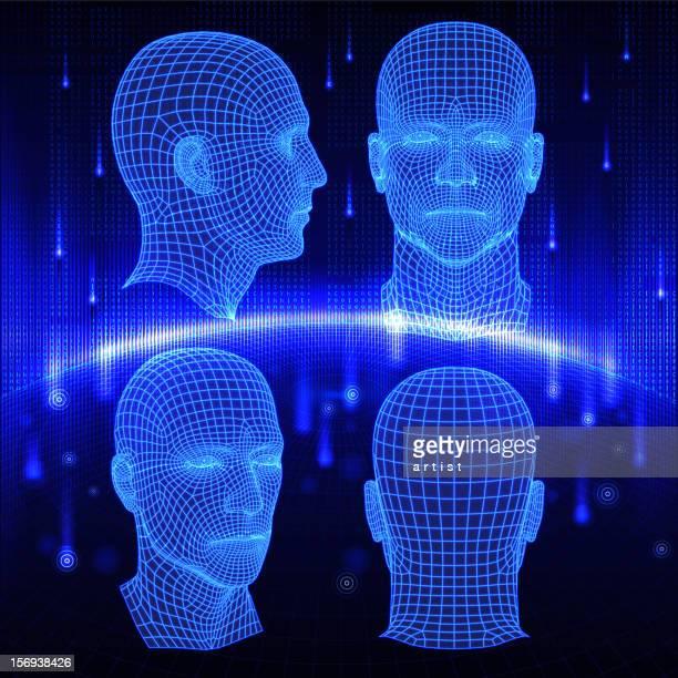 ilustrações, clipart, desenhos animados e ícones de conjunto de três cabeças 3d em fundo abstrato. - cabeça humana