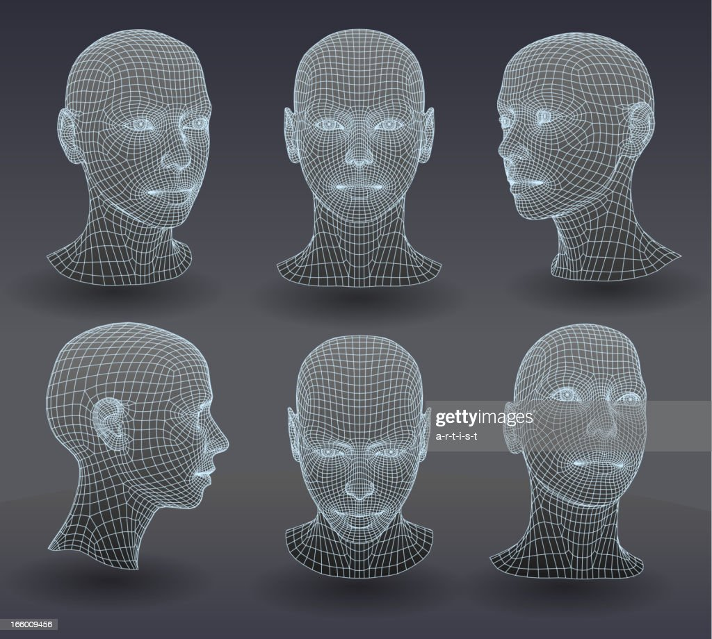 Set of three dimensional heads.