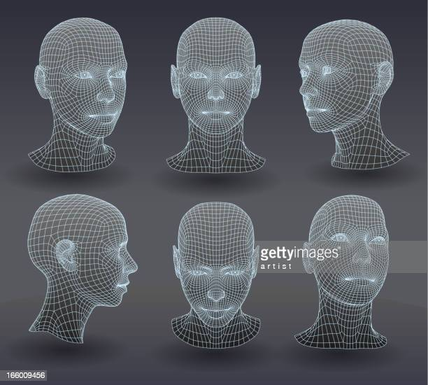 set of three dimensional heads. - human face stock illustrations
