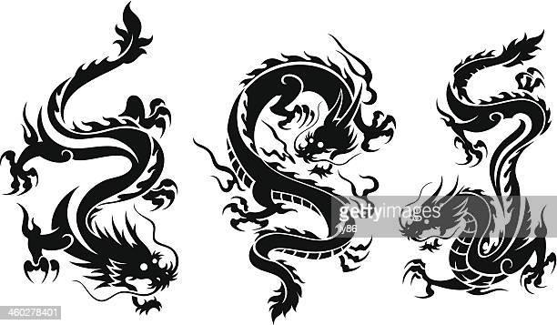 set of three dragons - chinese dragon stock illustrations