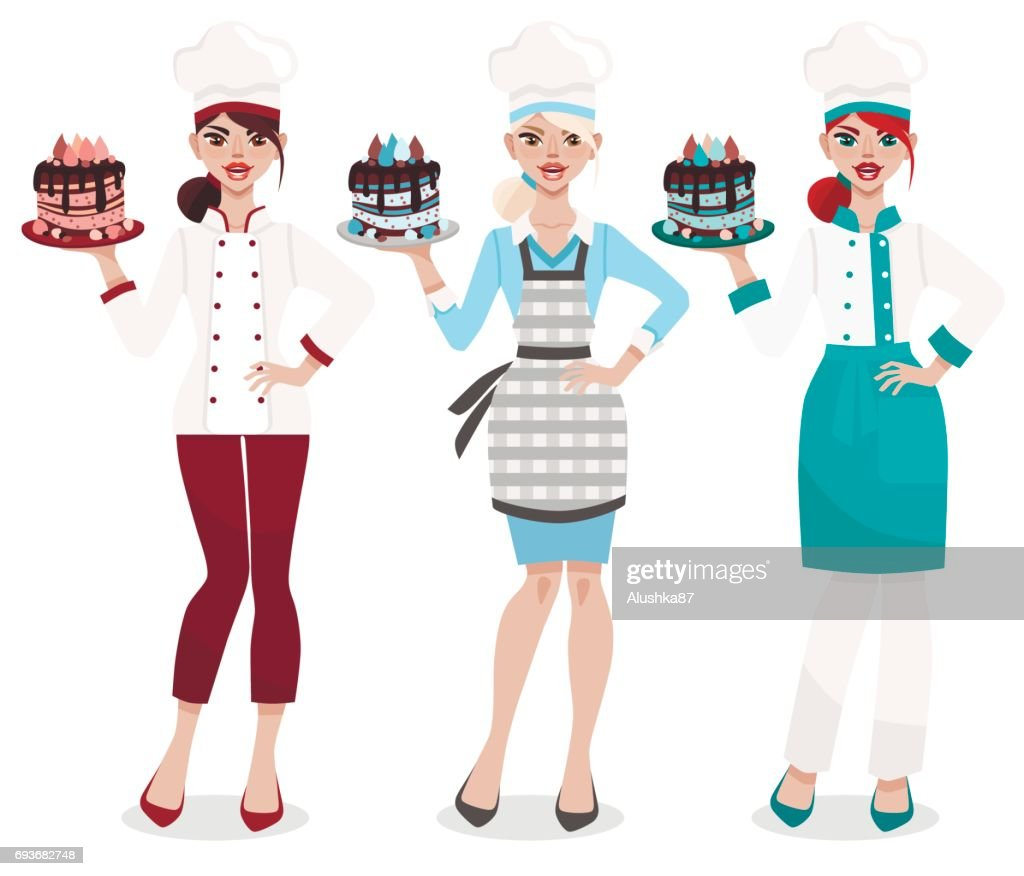 Set of three female chefs in different uniform isolated on white  background. Attractive young confectioner with sweet cake. Women's profession.