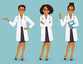 Set of three female doctors in different poses