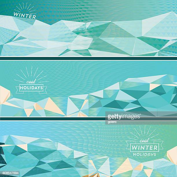 set of three geometric winter banner